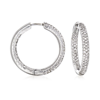C. 1990 Vintage 1.00 ct. t.w. Diamond Inside-Outside Hoop Earrings in 14kt White Gold