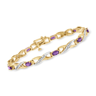 C. 1990 Vintage 1.80 ct. t.w. Amethyst Bracelet with .10 ct. t.w. Diamonds in 14kt Yellow Gold