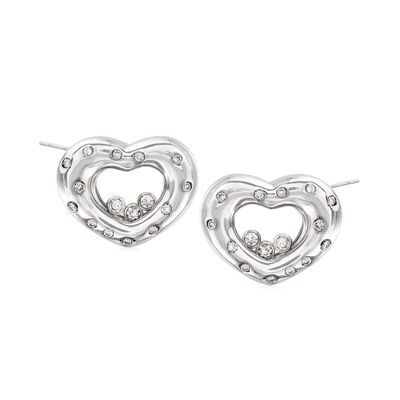 C. 1990 Vintage Chopard .50 ct. t.w. Diamond Heart Earrings in 18kt White Gold, , default