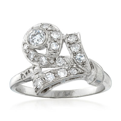 C. 1950 Vintage .70 ct. t.w. Diamond Cocktail Ring in 14kt White Gold, , default