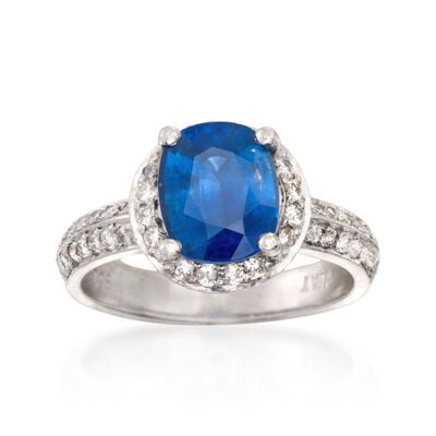C. 2000 Vintage 2.65 Carat Sapphire and .65 ct. t.w. Diamond Ring in Platinum, , default