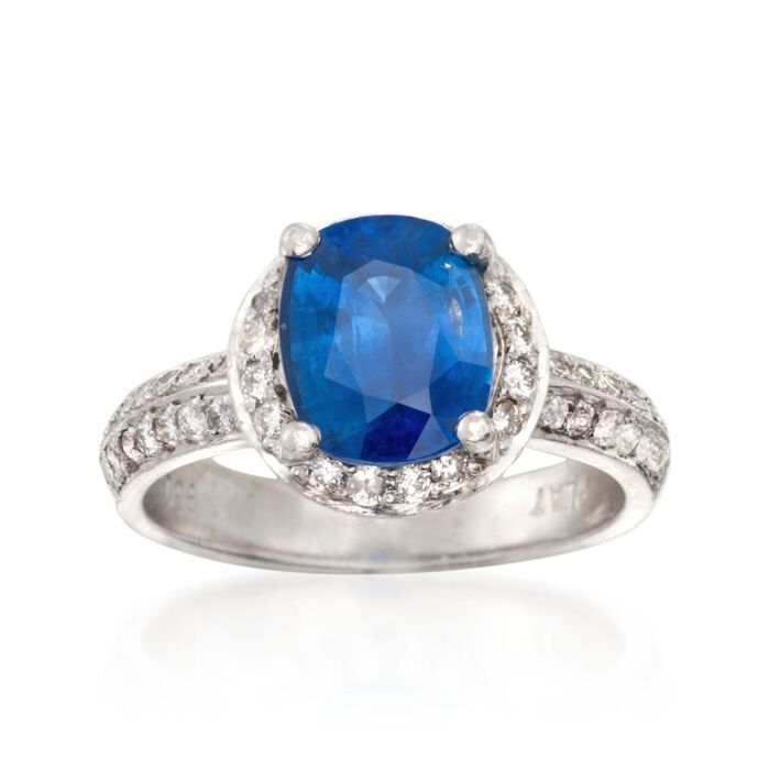 C. 2000 Vintage 2.65 Carat Sapphire and .65 ct. t.w. Diamond Ring in Platinum. Size 6.5, , default