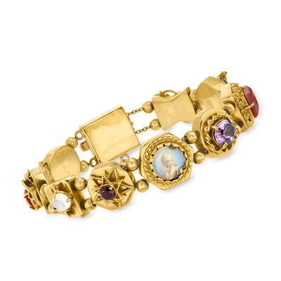 C. 1960 Vintage 2.90 ct. t.w. Multi-Gem Charm Bracelet with Painted Portrait in 14kt Yellow Gold
