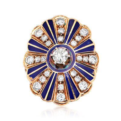 C. 1960 Vintage 1.55 ct. t.w. Diamond and Blue Enamel Ring in 14kt Yellow Gold