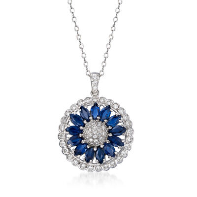 C. 1990 Vintage 3.00 ct. t.w. Sapphire and 1.05 ct. t.w. Diamond Flower Pendant Necklace in 18kt White Gold, , default