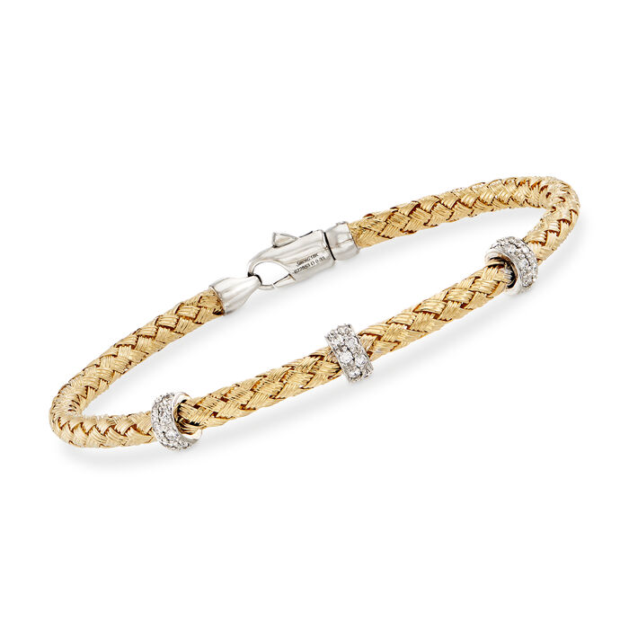 "Simon G. .32 ct. t.w. Diamond Three-Station Woven Bangle Bracelet in 18kt Yellow Gold. 7"", , default"