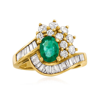 C. 1980 Vintage .75 Carat Emerald and 1.02 ct. t.w. Diamond Ring in 18kt Yellow Gold