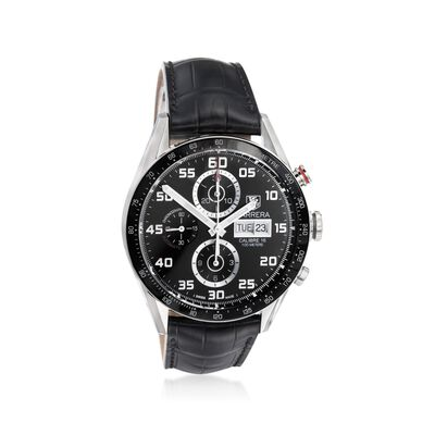 TAG Heuer Carrera Men's 43mm Chrono Day-Date Men's Black Stainless Steel Watch with Black Alligator Strap, , default