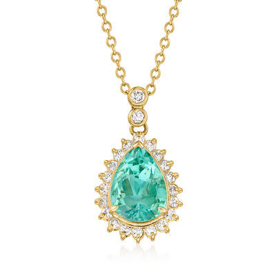 C. 1980 Vintage 2.61 Emerald Pendant Necklace with .46 ct. t.w. Diamonds in 18kt Yellow Gold