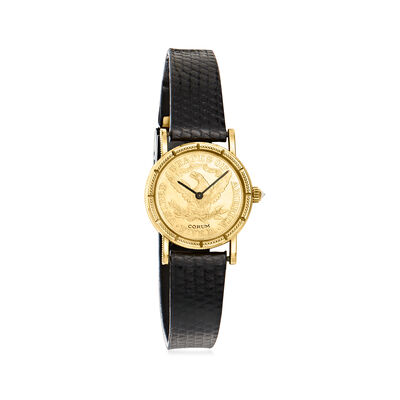 C. 1980 Vintage 24mm Corum 18kt Yellow Gold Watch with Diamond Accent and Black Leather Strap