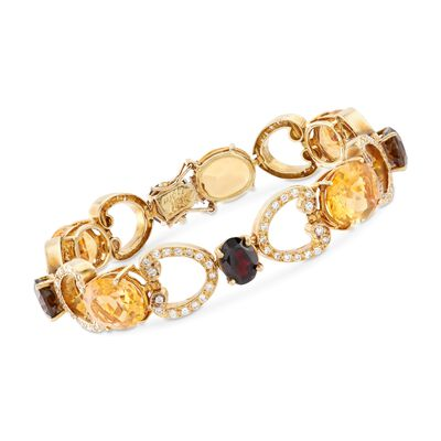 C. 1980 Vintage 24.50 ct. t.w. Citrine and 6.00 ct. t.w. Smoky Quartz Bracelet with Diamonds and Garnet Accent in 18kt Gold