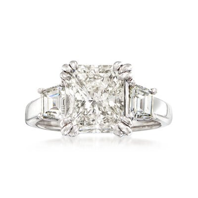 Majestic Collection 3.81 ct. t.w. Radiant and Trapezoid Diamond Ring in Platinum, , default
