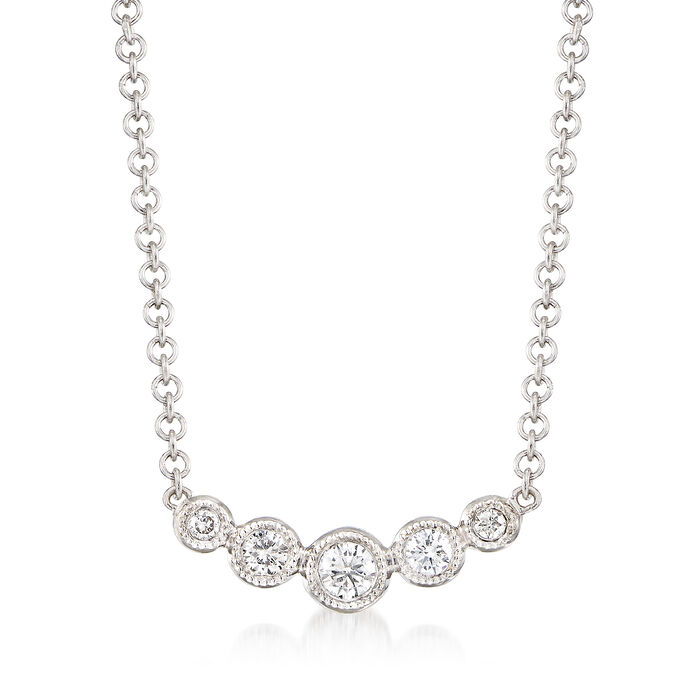"Gabriel Designs .10 ct. t.w. Graduated Diamond Necklace in 14kt White Gold. 15.5"", , default"