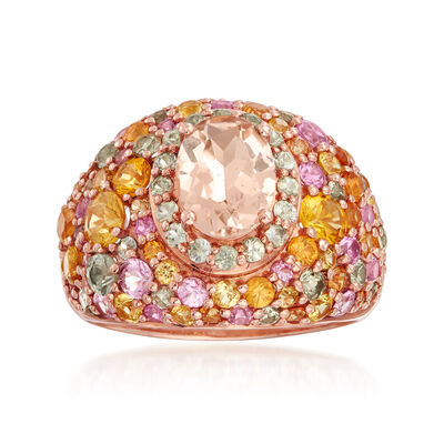 C. 1990 Vintage 1.05 Carat Morganite and 3.60 ct. t.w. Multicolored Sapphire Dome Ring in 14kt Rose Gold, , default