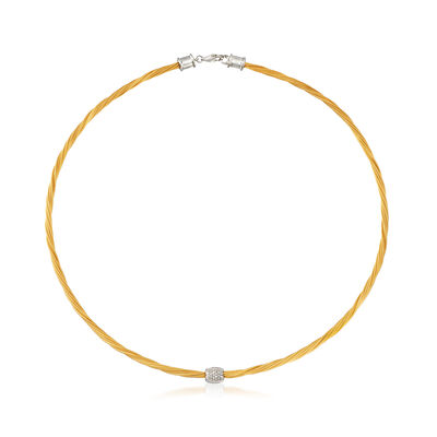 "ALOR Yellow ""Classique"" .14 ct. t.w. Diamond Stainless Steel Cable Necklace with 18kt White Gold"
