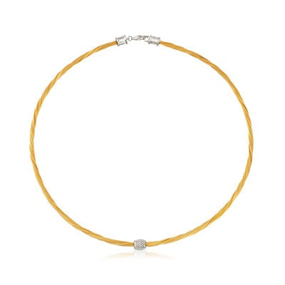 "ALOR Yellow ""Classique"" .14 ct. t.w. Diamond Stainless Steel Cable Necklace with 18kt White Gold, , default"