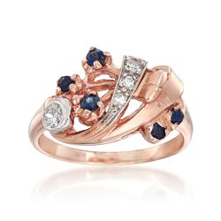 C. 1940 Vintage .18 ct. t.w. Sapphire and .17 ct. t.w. Diamond Spray Ring in 14kt Two-Tone Gold, , default