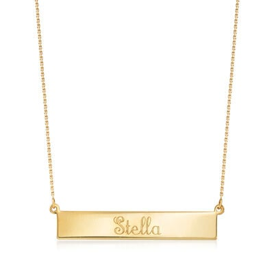 14kt Yellow Gold Name Bar Necklace, , default