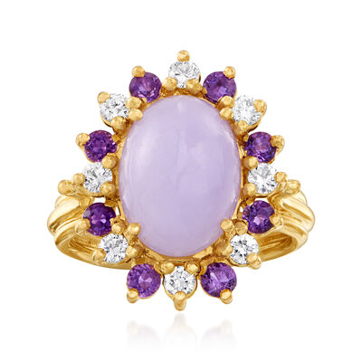 C. 1980 Vintage Purple Jade, .50 ct. t.w. Amethyst and .40 ct. t.w. Diamond Ring in 14kt Yellow Gold