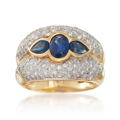 C. 1980 Vintage 1.70 ct. t.w. Sapphire and 1.00 ct. t.w. Diamond Ring in 18kt Yellow Gold, , default