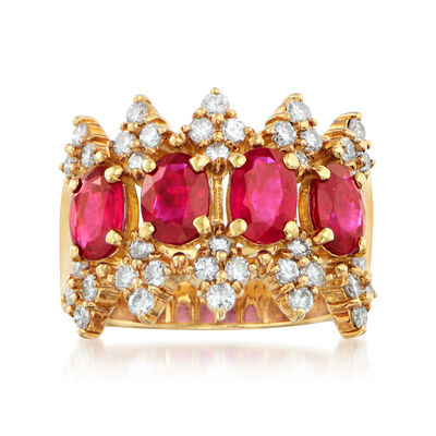 C. 1990 Vintage 2.27 ct. t.w. Ruby and .78 ct. t.w. Diamond Band in 18kt Yellow Gold