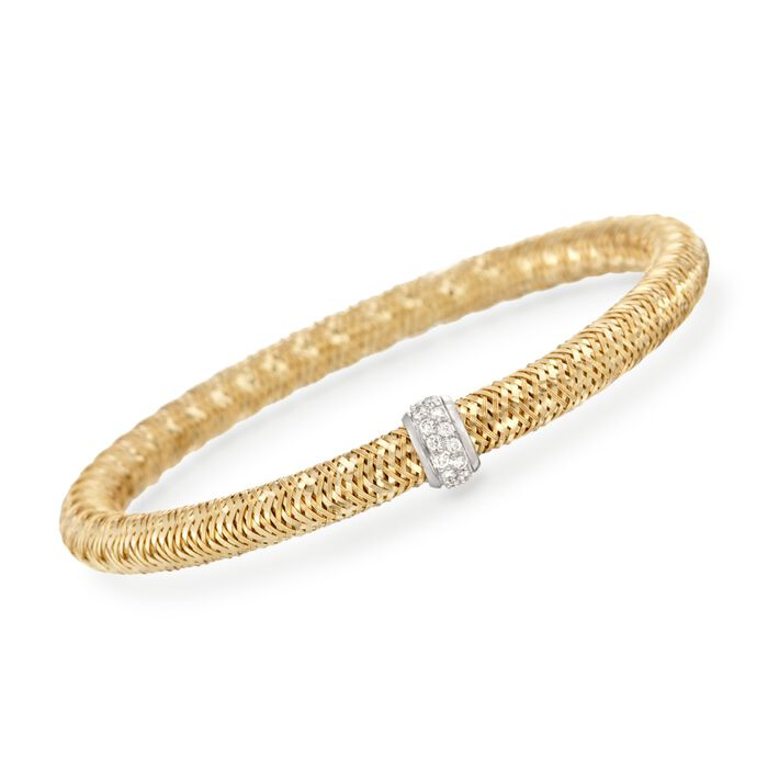 "Roberto Coin Primavera .24 Carat Total Weight Diamond Bracelet in 18-Karat Yellow Gold. 7"", , default"