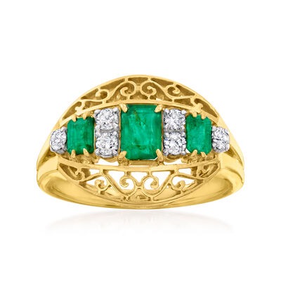 C. 1950 Vintage .75 ct. t.w. Emerald and .25 ct. t.w. Diamond Ring in 12kt Yellow Gold