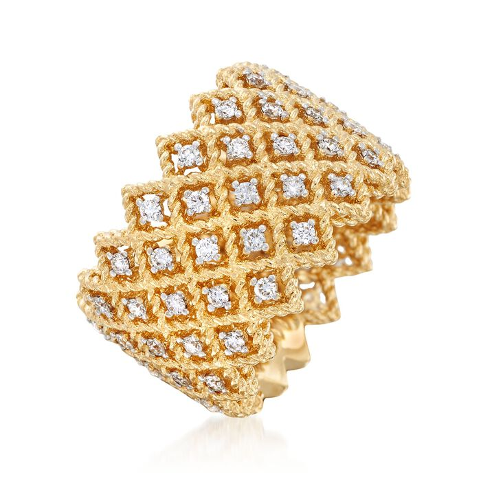 "Roberto Coin ""Barocco"" 1.10 ct. t.w. Diamond Five-Row Ring in 18kt Yellow Gold"