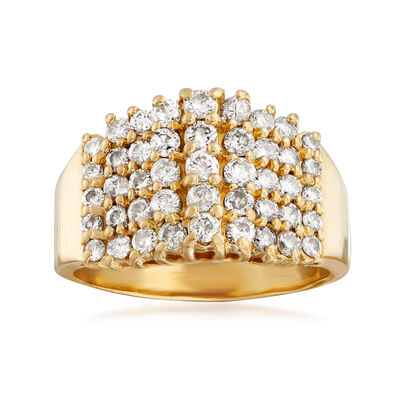 C. 1980 Vintage 1.00 ct. t.w. Multi-Row Diamond Ring in 14kt Yellow Gold, , default