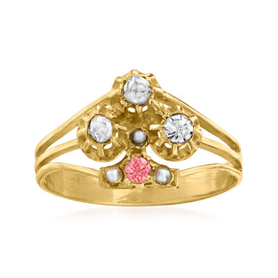 C. 1930 Vintage .15 ct. t.w. Diamond Flower Ring with Pink Garnet Accent and Seed Pearls in 10kt Yellow Gold