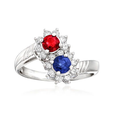 C. 1990 Vintage .48 Carat Sapphire, .44 Carat Ruby and .40 ct. t.w. Diamond Bypass Ring in Platinum