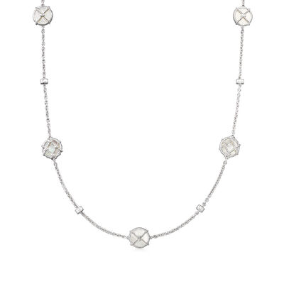 """Judith Ripka """"Isola"""" Mother-Of-Pearl Station Necklace in Sterling Silver"""