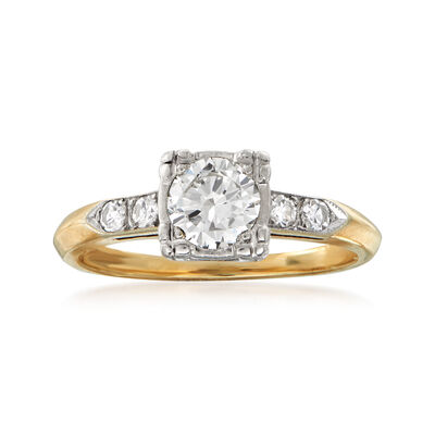 C. 1970 Vintage .65 ct. t.w. Diamond Engagement Ring in 14kt Yellow Gold, , default