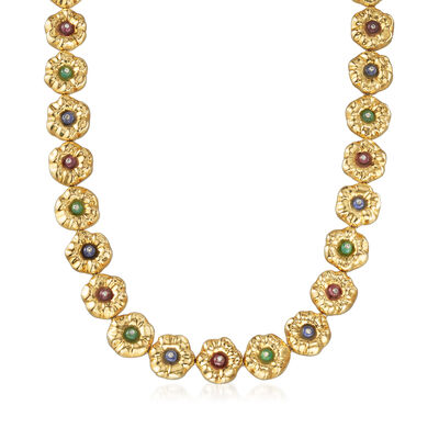 C. 1990 Vintage Rossetti Multi-Gemstone Flower Necklace in 18kt Yellow Gold