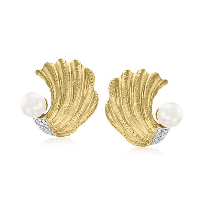 C. 1980 Vintage 7mm Cultured Pearl Shell Earrings with .20 ct. t.w. Diamonds in 18kt Yellow Gold