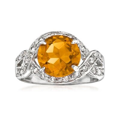 C. 2000 Vintage 2.35 Carat Citrine and .20 ct. t.w. Diamond Ring in 14kt White Gold