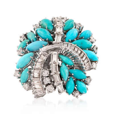 C. 1970 Vintage Reconstituted Turquoise and 1.75 ct. t.w. Diamond Cluster Ring in Sterling Silver and 14kt Yellow Gold, , default