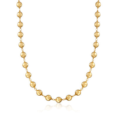 C. 1970 Vintage 18kt Yellow Gold Bead Necklace