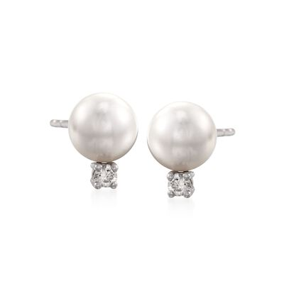 Mikimoto 6-6.5mm A+ Akoya Pearl Earrings With Diamonds in 18kt White Gold    , , default