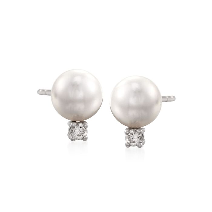 Mikimoto Akoya Pearl and Diamond Studs in 18-Karat White Gold, , default