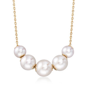Mikimoto 5.5-7.5mm A+ Akoya Pearl Necklace in 18kt Yellow Gold #900379