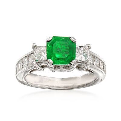 1.30 ct. t.w. Diamond and 1.23 Carat Emerald Ring in 14kt White Gold, , default