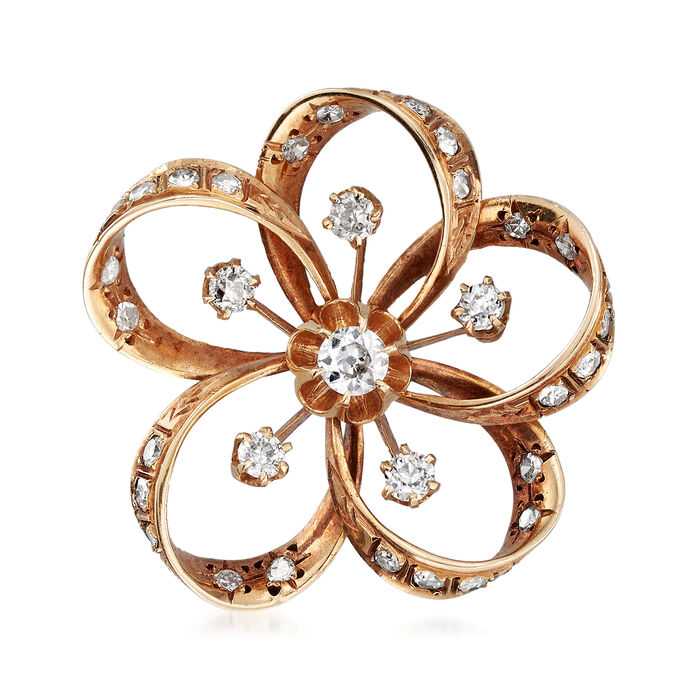 C. 1930 Vintage 1.40 ct. t.w. Diamond Flower Pin in 14kt Yellow Gold, , default