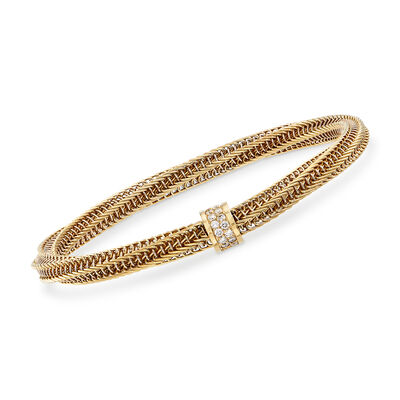 "Roberto Coin ""Primavera"" .19 ct. t.w. Diamond Twisted Bracelet in 18kt Yellow Gold, , default"