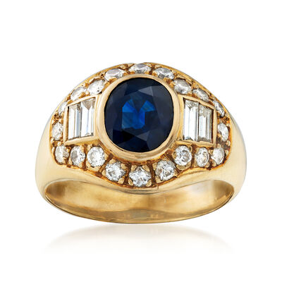 C. 1980 Vintage 2.00 Carat Sapphire and 1.25 ct. t.w. Diamond Ring in 18kt Yellow Gold