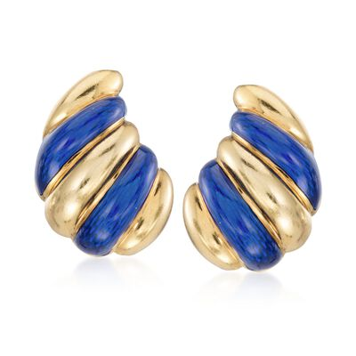 C. 1960 Vintage Blue Enamel Spiral Drop Clip-On Earrings in 18kt Yellow Gold, , default