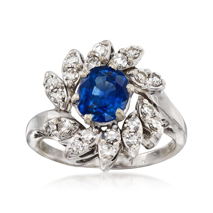 C. 1970 Vintage 1.50 Carat Sapphire and .75 ct. t.w. Diamond Ring in 14kt White Gold. Size 6.5, , default