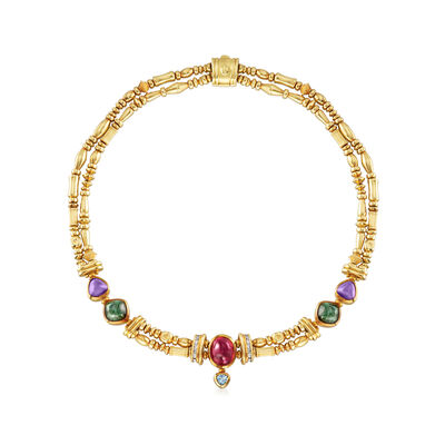 C. 1980 Vintage Seidengang Multi-Gem Double Strand Necklace in 18kt Yellow Gold, , default