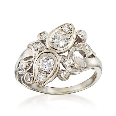 C. 1960 Vintage .90 ct. t.w. Diamond Cluster Ring in 14kt White Gold, , default