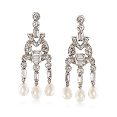 C. 1990 Vintage 2.15 ct. t.w. Diamond Drop Earrings with Cultured Pearls in Platinum